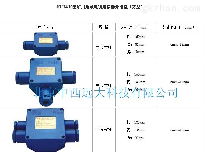 �V用通���|�B接器分�盒 型�:KLH4-10