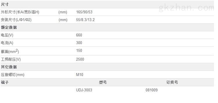 友邦UDJ-3003 环保阻燃大电流接线端子